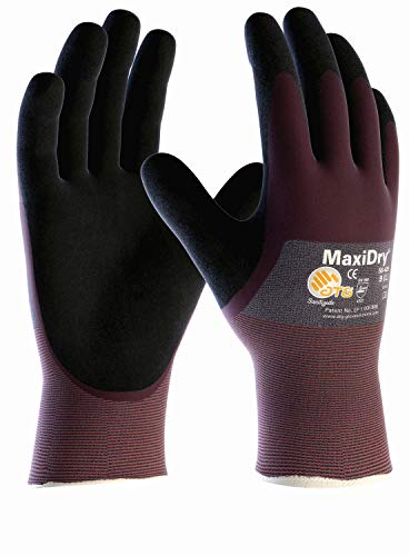 (6 Paar) ATG Handschuhe 56-425 Schutzhandschuhe MaxiDry, SB-Verp. 6 x violett/schwarz 10