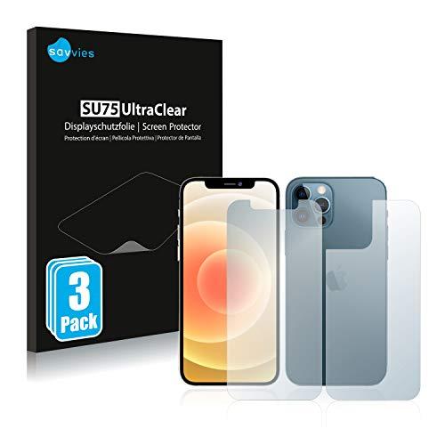 savvies 6-Pezzi Pellicola Protettiva Compatibile con Apple iPhone 12 PRO (Anteriore + Posteriore) Protezione Schermo Trasparente