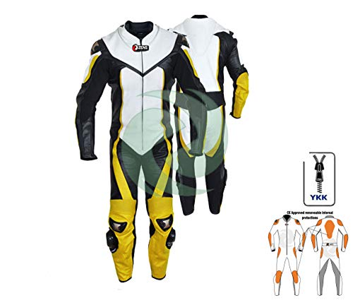 Cuir de moto moto cuir jaune/noir équipement de protection en cuir de vachette de toute taille par Zens Leather