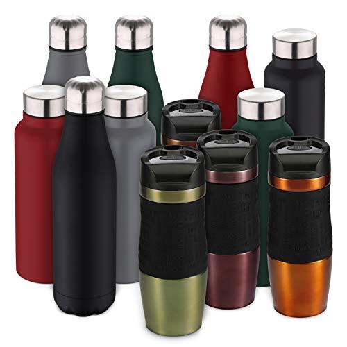 Bergner Isolierbecher 400 ml Thermobecher NEON Cassic Edelstahl lackiert Schwarze Silikon-Griffläche Einhand-Click-Verschluss Rutschfester Boden (Grün-Metallic)