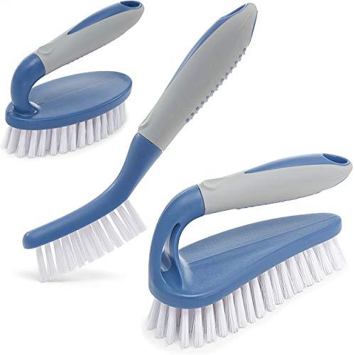 Juego de 3 cepillos de limpieza para ducha con mango ergonómico y cerdas durables, cepillo limpiador de lechada – cepillos para limpieza de baño/ducha/baldosa/cocina/piso/bañera/alfombra azul