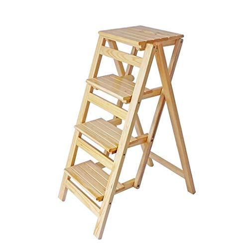 Yxsd Inklapbare ladder met 4 standen, kruk, draagbare kruk, stoel, eetkamerstoel met houten doorlaat voor kinderen en volwassenen, tuingereedschap, Heavy Du