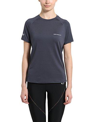 Ultrasport Jen Camiseta de Correr/de Deporte, Mujer, Negro/Gris, S