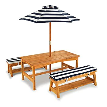 KidKraft Outdoor Table and Bench Set with Cushions and Umbrella Kids Backyard Furniture Navy and White Striped Fabric ,Gift for Ages 3-8
