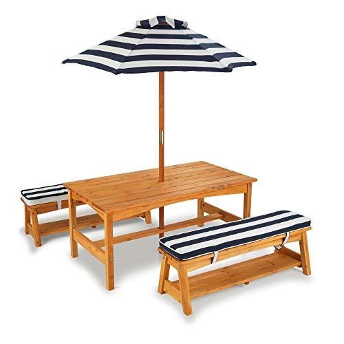 KidKraft 106 Gartentischset mit Bank, Kissen und Sonnenschirm Gartenmöbel für Kinder-Streifenmuster, Naturfarben