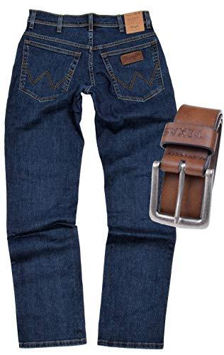 Wrangler Texas Stretch Herren Jeans Regular Fit inkl. Gürtel (W44/L36, Darkstone-Braun)