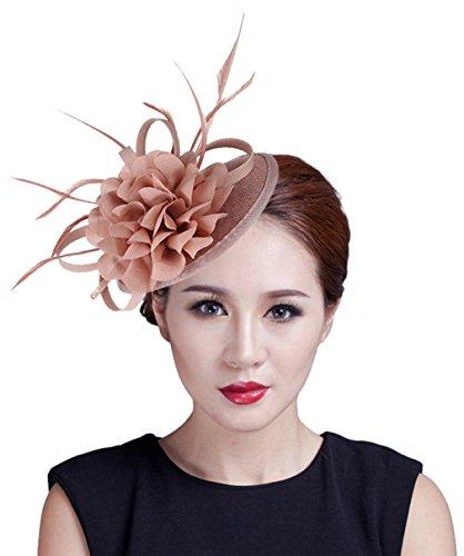 EOZY Mujer Tocado de Boda Fiesta Sombrero Vintage Rosa A