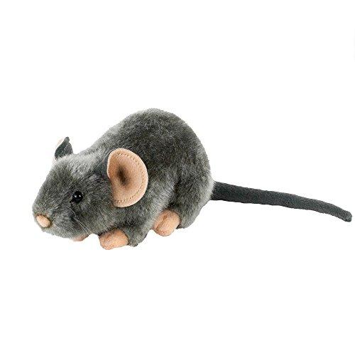 Uni-Toys Kuscheltier Maus liegend 17 cm (30 cm mit Schwanz) grau Plüschtier Plüschmaus