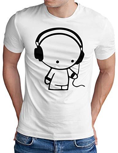 OM3® - Headphones-Music-Beat - T-Shirt - Herren - DJ Sound Audio - Weiß, M