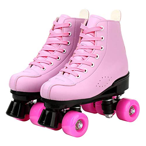 PHSDA Women's Roller Skates PU Leather Adjustable Double Row 4 Wheels Roller Skates Shiny Skates Classic Roller Skates for Kids and Adult (Pink,Heel to Toe(mm) 235/us 6.5)