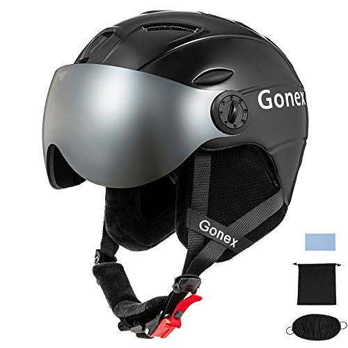 Gonex Ski Helmet with Goggles - ASTM Certified Safety - Winter Windproof Skiing Snowboard Snow Helmet for Men, Women, Youth - Accessories Included (Black S)