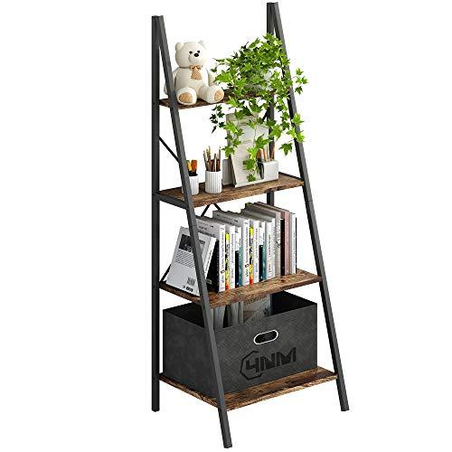 4NM Industrial 4-Tier Ladder Shelf, Metal Bookshelf Multifunctional Plant Flower Stand Storage Rack Shelves - Rustic Brown and Black