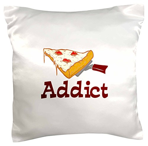 3dRose pc_12495_1 Pizza Addict-Pillow Case, 16 by 16'