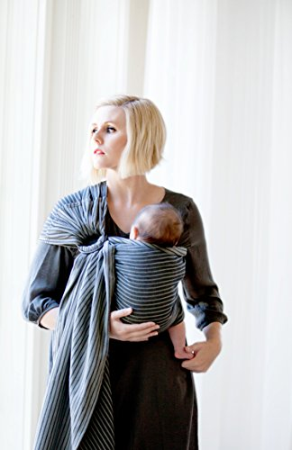 Moby Ring Sling Baby Carrier (Jet) - Ring Sling Carrier for Babywearing -Baby Sling for Baby Wearing, Breastfeeding, and Keeping Baby Close - Baby Carrier for Newborns, Infants, and Toddlers