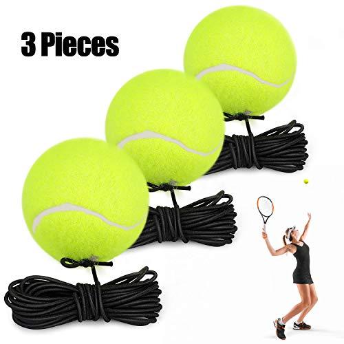 Fostoy Tennistrainer Tennisbälle mit Schnur, 3 Stück Elastischer Tennisball für Training Rebound Ball für Erwachsene Kinder Anfänger Selbstlern Übung Indoor Outdoor