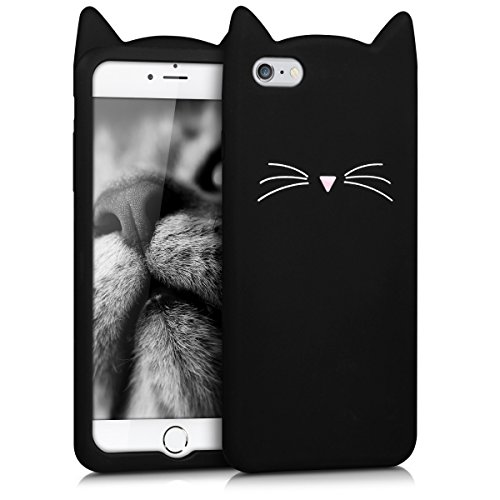 kwmobile Cover Compatibile con Apple iPhone 6 Plus / 6S Plus - Custodia in Silicone TPU - Copertina Protettiva Back Case Backcover - Gatto Nero/Bianco
