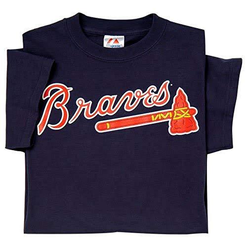 Majestic Atlanta Braves Adult 2X Crewneck Officially Licensed Baseball Replica Jersey T-Shirt Navy