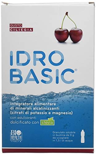 IDROBASIC di Biohealth Italia - Integratore Alimentare di Minerali Alcalinizzanti Dolcificato con Stevia, Gusto Ciliegia - Confezione da 15 bustine