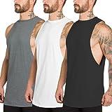 XYKJFIT Pack de 3 camisetas sin mangas para hombre, corte muscular, gimnasio,...