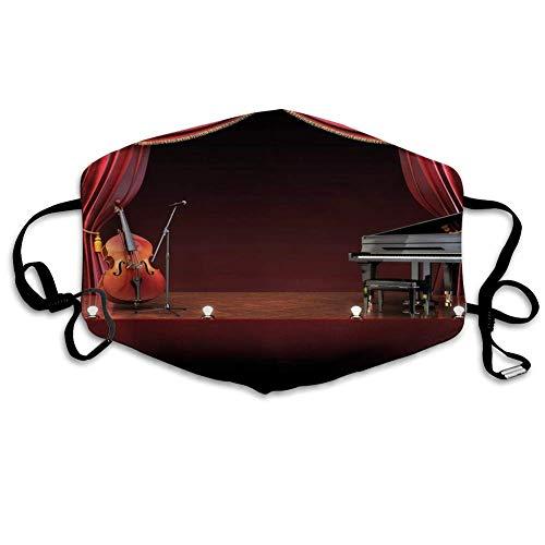 Bequeme Winddichte Maske, Musiktheater, Orchester Symphonie Thema Bühnenvorhänge Klavier Cello Musik Design, Burgund Braun Schwarz