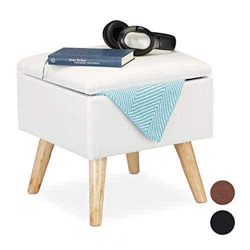Relaxdays Hocker mit Stauraum, Kunstleinen-Bezug, gepolstert, Holzbeine, Fußhocker mit Deckel, HBT: 40x40x40 cm, weiß, 1 Stück