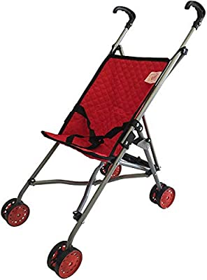 The New York Doll Collection First Dolls Stroller for Kids, - one piece ? Red Color for18? inch Folds for Storage - Great Gift for Toddlers