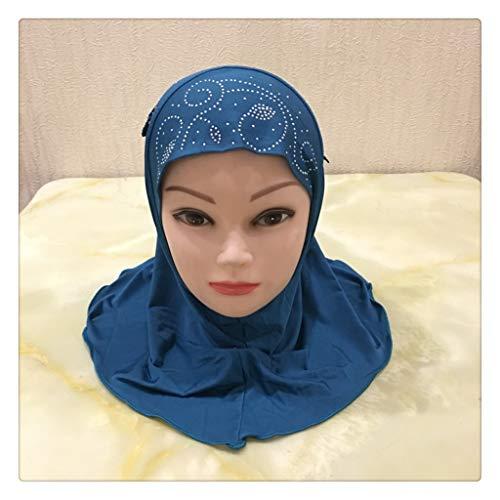 SLATIOM Se Ajustan a los Sombreros Hijab de niña pequeña de 2-7 años con Encaje Bufanda Musulmana Pañuelo en la Cabeza Sombrero Pull on Headwrap (Color : Color 1)