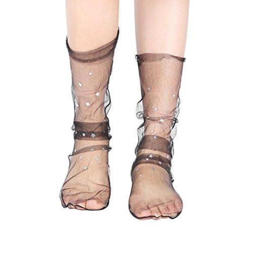 OverDose Damen Netzstrumpfhose Frauen Mode Glitter Star Soft Mesh Socke Transparente Elastische Sheer Knöchelsocke Kurze Netzsocken (B-Black)