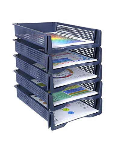 Zilpoo 5 Tier - Plastic Desk Letter Organizer Trays, Stackable Office Desktop Document Paper Storage, Front Load File Holder, Portrait
