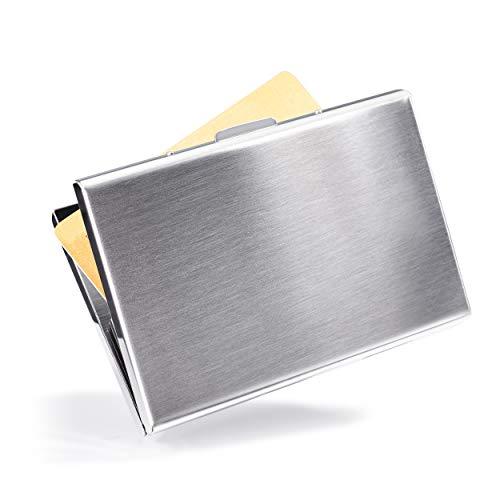 VALLET® Kartenetui Kreditkarten Etuis für Damen Herren aus gebürstetem Edelstahl - Visitenkarten Etuis 6 Fächer für bis zu 10 Karten - EC Karten Hülle RFID NFC Schutz Kreditkartenetui – Silber