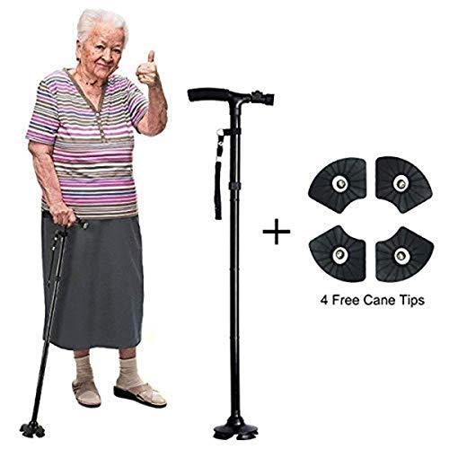 AIWAYING Folding Cane Walking Stick LED Flashlights Dependable Adjustable Height Lightweight Non Slip for Men Women