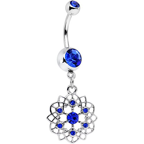 Body Candy Steel Royal Blue Accent Celtic Twist Flower Dangle Belly Ring