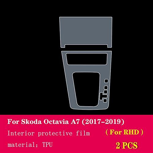 Coche Pantalla Accesorios Para Skoda Octavia A7 2017-2019 Coche Interior Center Console Transparente TPU Película protectora Anti-Scratch Repair Película Accesorios ( Color Name : Style C For RHD )