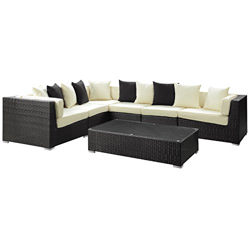 lexmod patio furniture sets LexMod Dreamscape 7-Piece Outdoor Wicker Patio Sectional Sofa Set, Espresso White