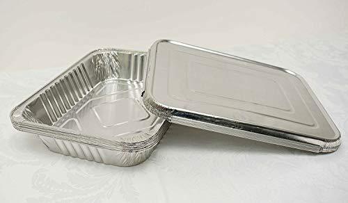 Barquettes jetables en aluminium avec couvercles pour nourriture, moule, Traiteur, fêtes et événements, Silver, 100 x Small Foil Trays