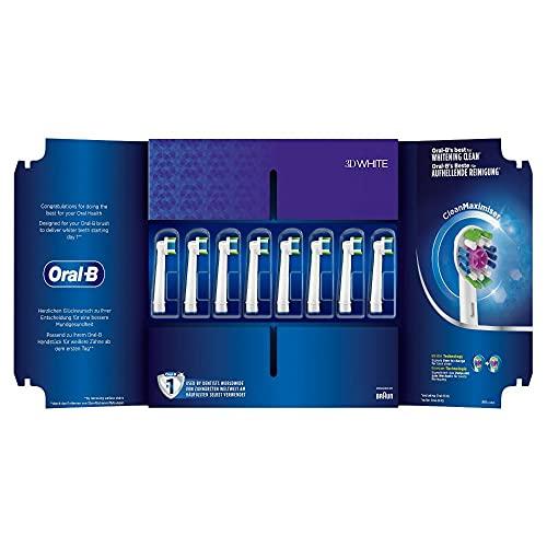 Oral-B 3DWhite Aufsteckbürsten mit CleanMaximiser-Borsten für aufhellende Reinigung, in briefkastenfähiger Verpackung, 8Stück