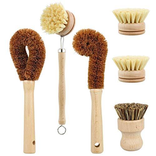 Op Planten Gebaseerde Reinigingsborstelset, 6-Delig Voor Het Reinigen Van Groenten En Keukens, Biologisch Afbreekbare Keukenborstels Zonder Afval