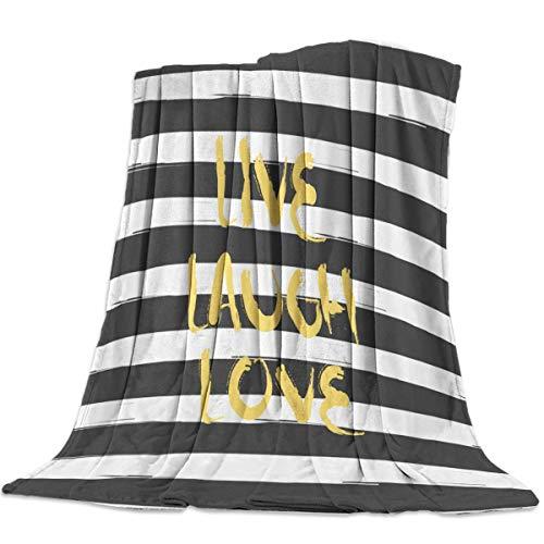 Manta de Franela 200X150cm,Manta Felpa Suave Shaggy Fleece, Lavable a máquina, Manta de Tiro para niños Adultos Manta de Franela Impresa (Rayas Blancas y Negras)