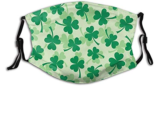 Funny Easter St Patricks Day- Face Mask Scarf, Breathable & Washable Balaclavas With 2 Filters, For Men & Women Adult-Shamrock Pattern - Green St Patrick's Day Three Leaf Clovers 3 Made in usa