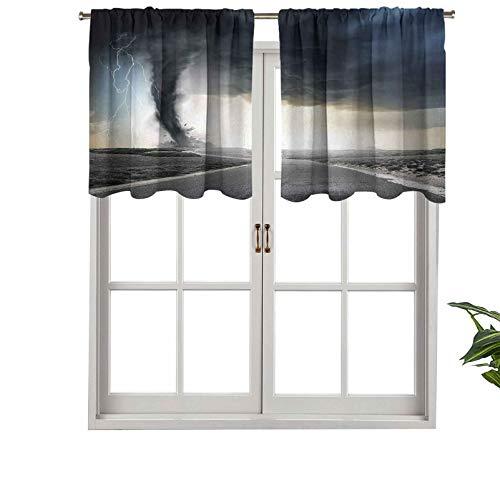 Hiiiman Cenefa recta de cortina con bolsillo para barra de alta calidad, embudo negro Tornado Lightning Rolling, juego de 1, 137 x 45 cm, ideal para cualquier habitación y dormitorio