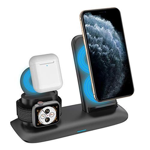 LAHappy Wireless Charging Stand, 3 in 1 10W Max Qi-Certified Wireless Fast Charging Station for iWatch Series, Airpods, iPhone SE/11/11 Pro Max/XS Max/XS/XR/X/8