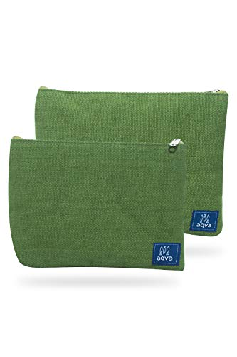 AQVA Pack of 2 Cotton Canvas Multipurpose Cosmetic Organizer Bag With Zipper - Water Resistant Travel Toiletry Pouch, DIY Craft Bag - Perfect for Stationary, Outdoor Activity (Large, Olive)