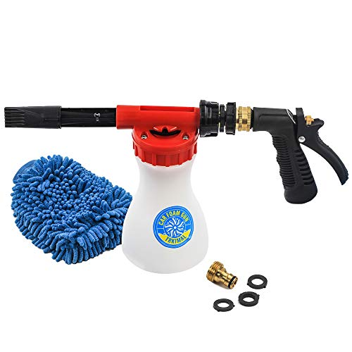 Car Washing Foam Gun Soap Foam Blaster, Trkimal - Adjustable Ratio Dial Car Foam Snow Gun Fit Low Water Pressure Universal Standard Garden Hose, Car Washer Sprayer for Home Garden Use