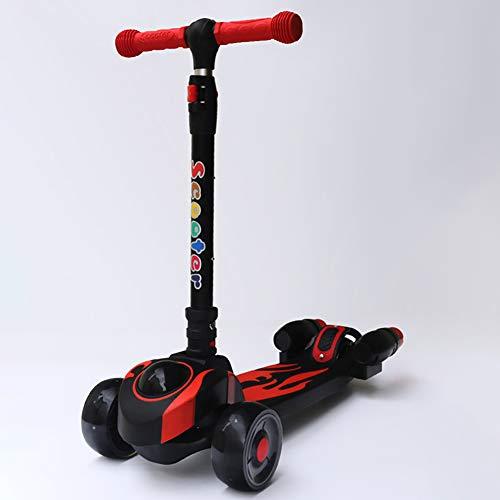 ZYCWBW Kinder 3 Wheel Kick Scooter Für 3-12 Jahre Jungen Mädchen, Kleinkinder Scooter Mit Höhenverstellbarem Lenker - PU-Blinkräder, Leichter Rahmen Lean to Steer,Schwarz