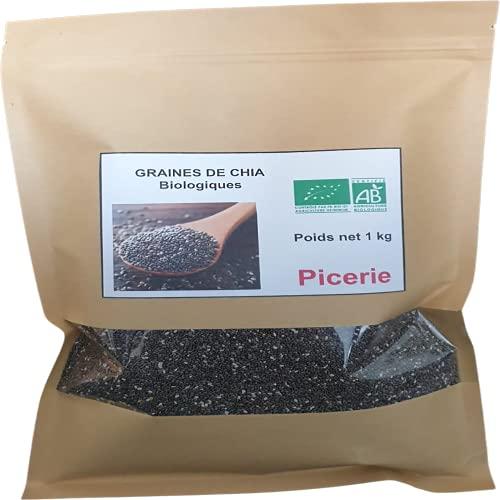 Graine de chia BIO 1 kg I Protéines, Perte de Poids, Digestion, Oméga-3   Qualité Supérieure I Superaliment
