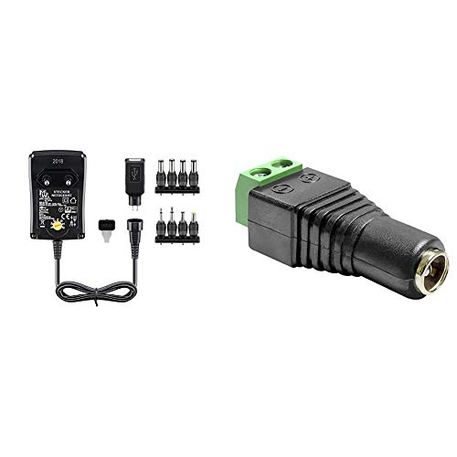 Universal Netzteil 1500mA 3V / 4,5V / 5V / 6V / 7,5V / 9V / 12V inkl. 8 Adapterstecker Plus USB & Delock Adapter DC 5,5 x 2, 1 mm Buchse > Terminalblock 2 Pin