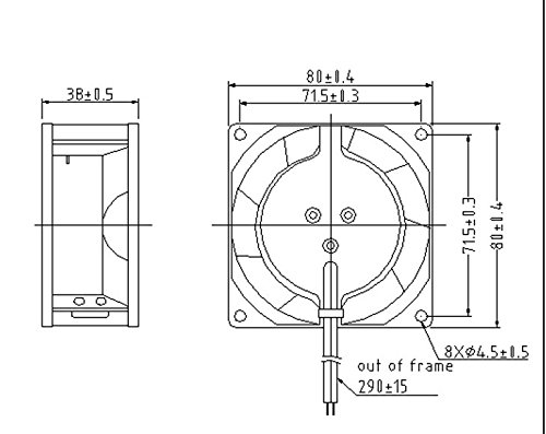 ueBEST AC axial Fan 8038, All Metal, high Wind, high air Pressure Cooling Fan,110V AC 80mm by 80mm by 38mm High Speed
