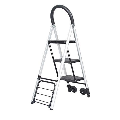 MKJYDM Escalera Plegable de Aluminio for el hogar Escalera Plegable silenciosa Escalera portátil multifunción Taburete de Tres Pasos de Doble Uso Taburete