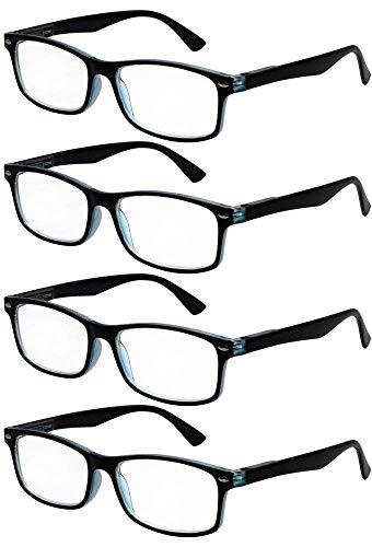 TBOC Gafas de Lectura Presbicia Vista Cansada - [Pack 4 Unidades] Graduadas +2.00 Dioptrías Montura de Pasta Bicolor Negra y Turquesa Diseño Moda Hombre Mujer Unisex Lentes Aumento Leer Ver Cerca