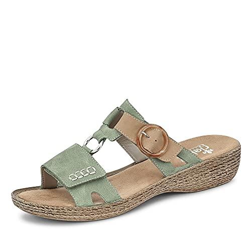 Rieker Damen Pantoletten Grün, Schuhgröße:EUR 38